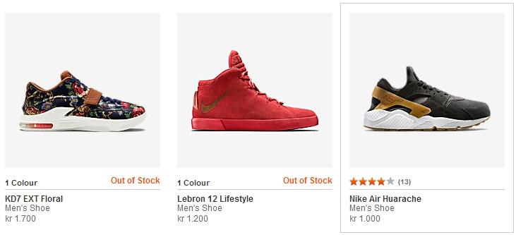 Nike.com – viser rating med stjerner og antallet af produktanmeldelser i parantes